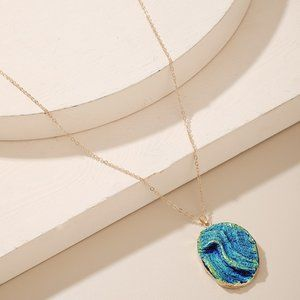 New Gold Blue Green Sparkly Pendant Necklace